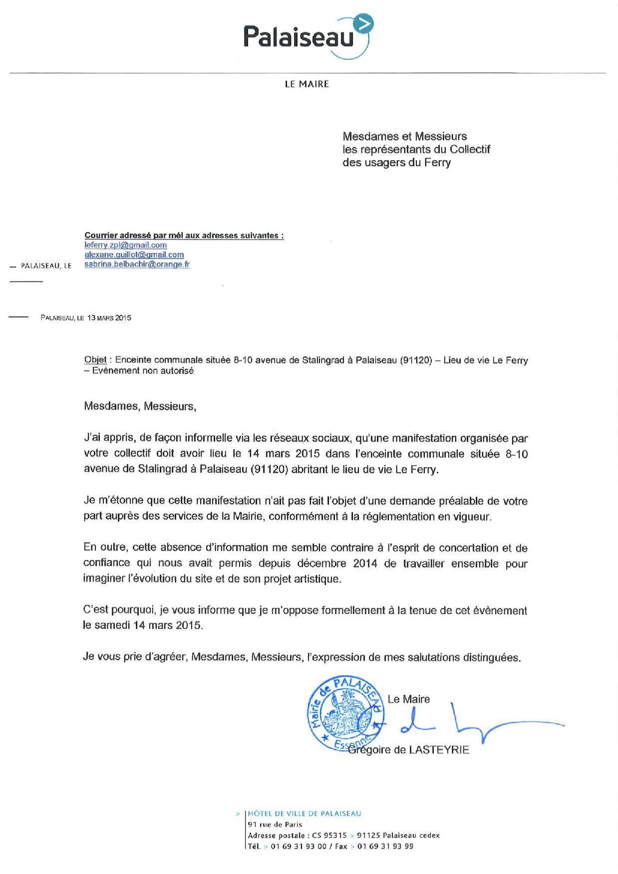 """Lettre du Maire concernant la journée """"Portes Fermées"""""""